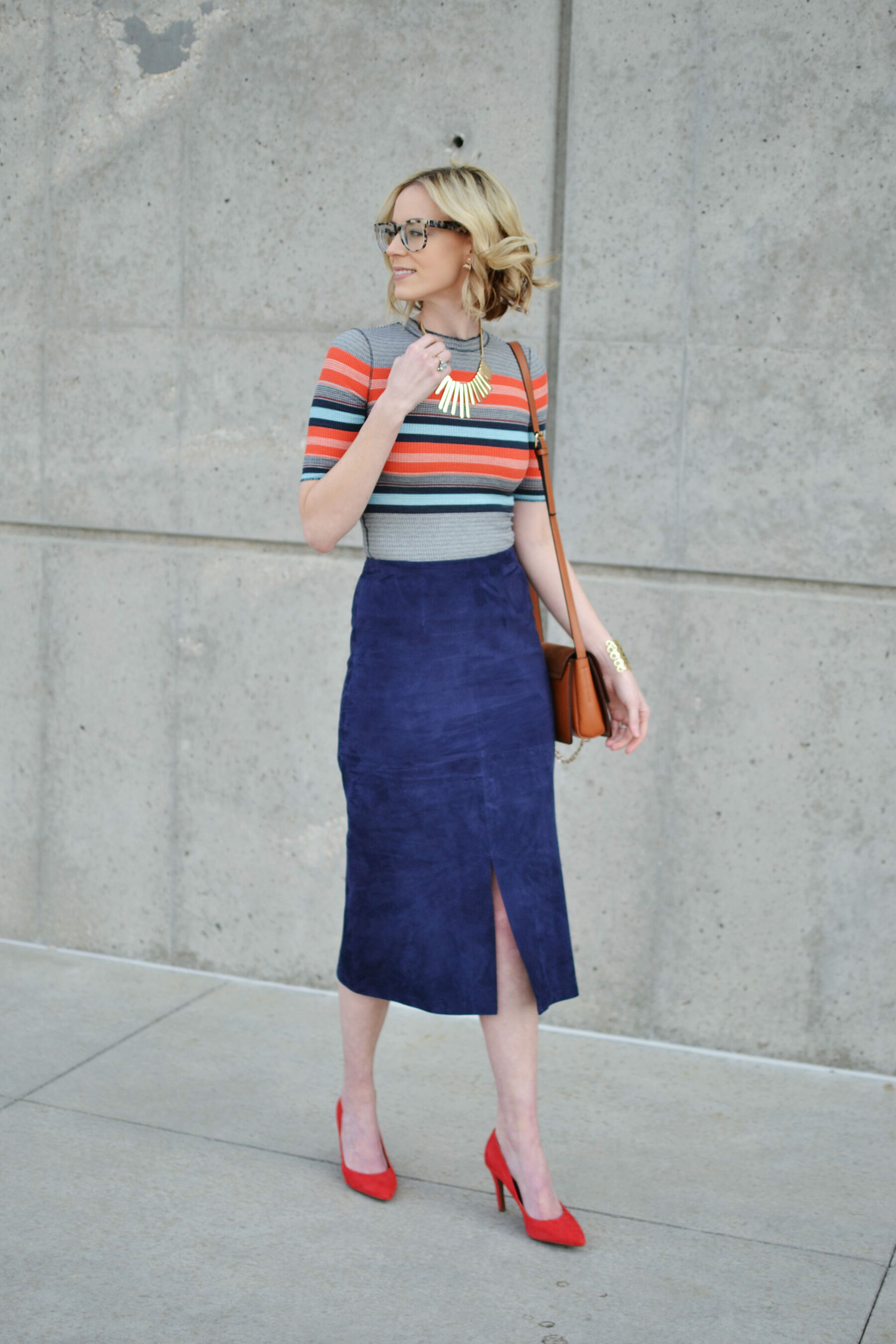 Blue Suede Skirt - Skirts