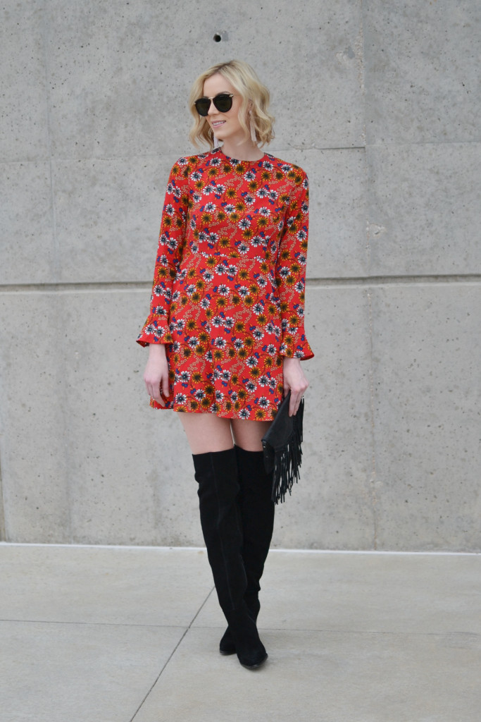 WAYF floral dress with tie back detail, OTK boots 2