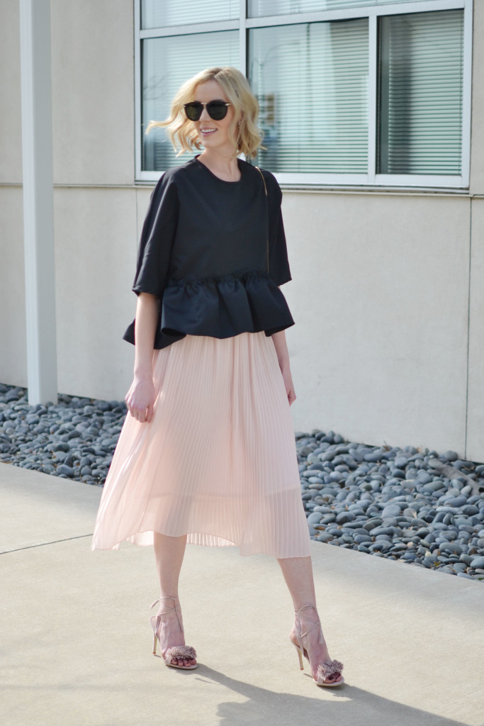 blush midi skirt, ruffle hem top, dressy black tassel bag, blush pom pom lace up heels, Carrie Bradshaw moment, Valentine's Day date outfit inspiration, pantone color 2016, rose quartz, lace up shoes