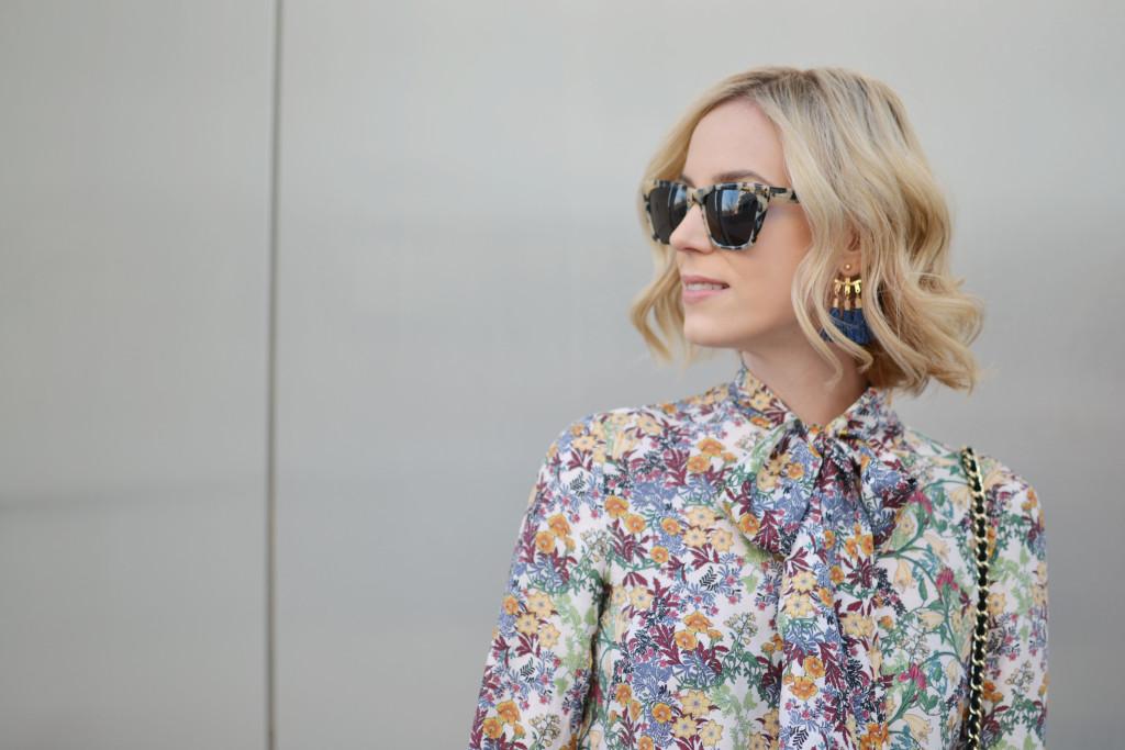 denim culottes, floral blouse, Purple Peridot tassel earrings