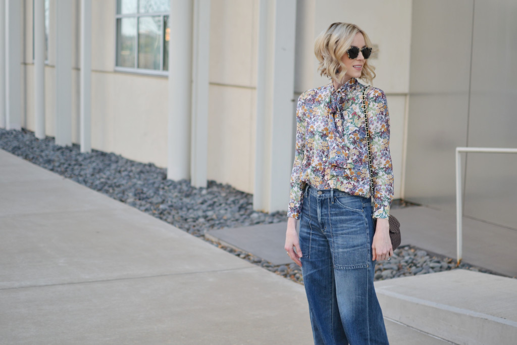 denim culottes, floral blouse, cream ankle boots 1