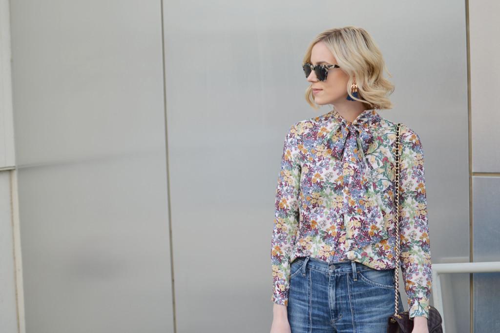 denim culottes, floral blouse, cream ankle boots, Purple Peridot tassel earrings