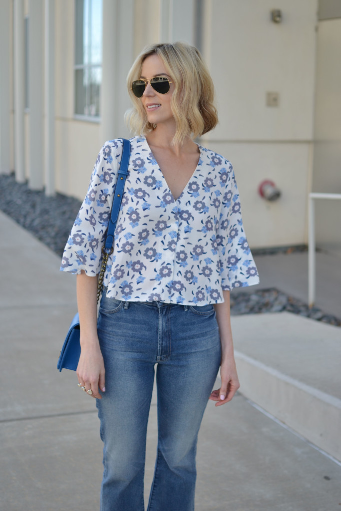 floral top, cropped flares 1