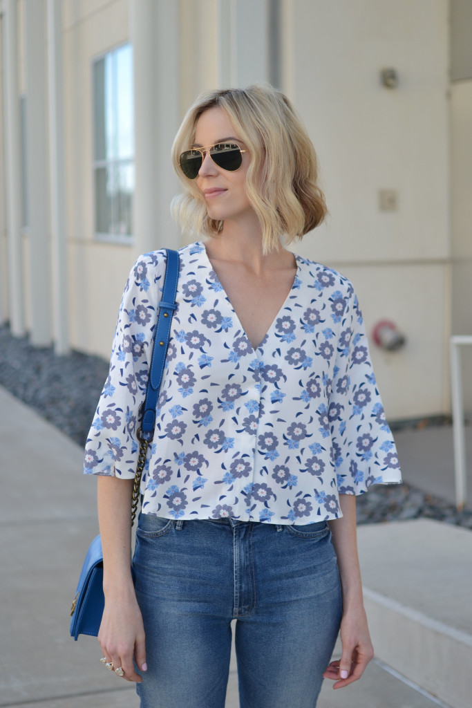 floral top, cropped flares