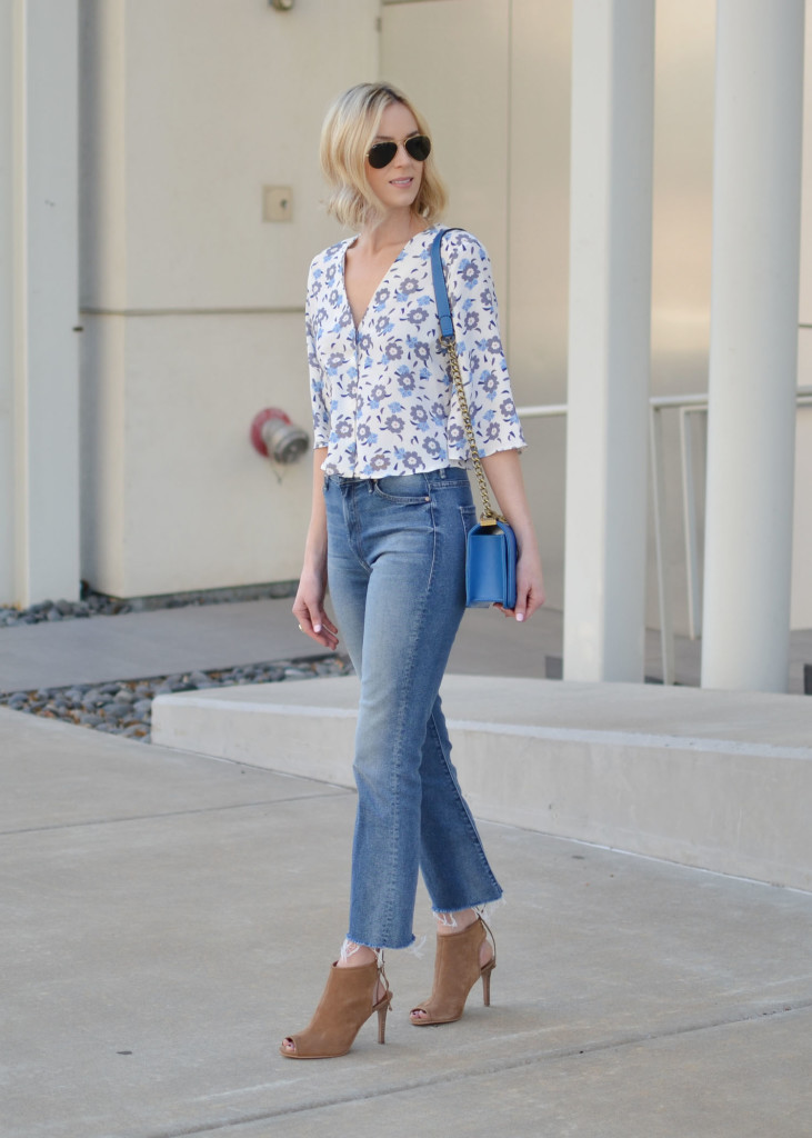 floral top, cropped flares, blue chain purse, peep toe booties