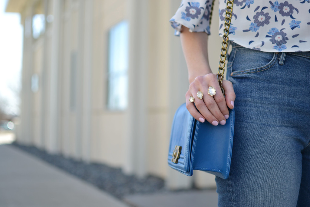 floral top, cropped flares, kendra scott ring