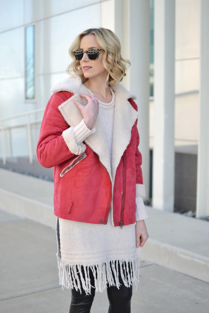 fringe hem tunic sweater, red suede shearling jacket