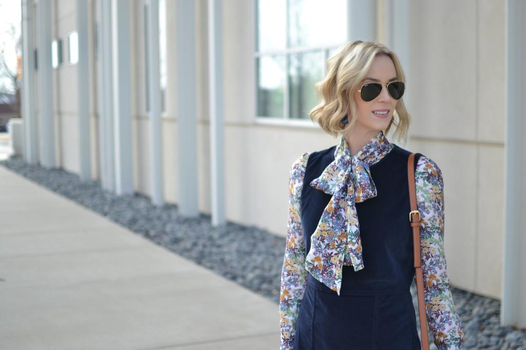 velvet jumper, bow blouse