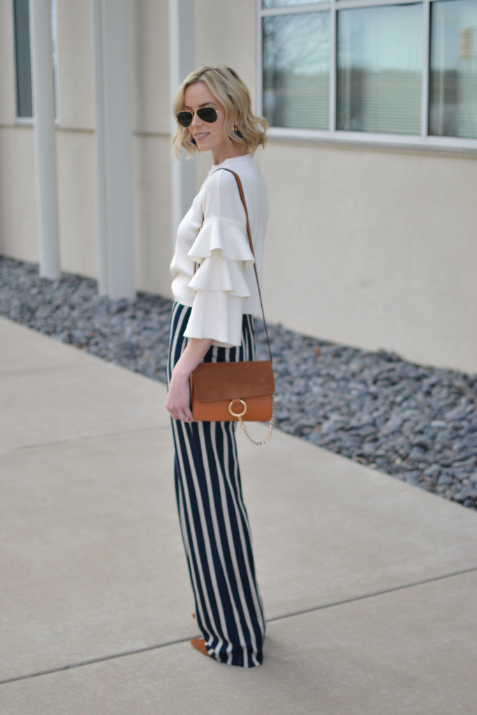 wide leg high waisted striped pants, ruffle sleeve top, 70s style, retro, chloe dupe bag. ray-ban aviators, suede boots, spring 2016 trends