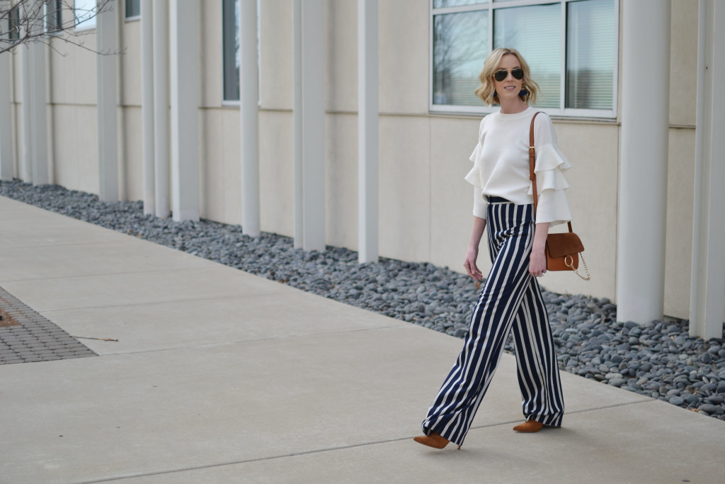 wide leg high waisted striped pants, ruffle sleeve top, 70s style, retro, chloe dupe bag. ray-ban aviators, suede boots, spring 2016 trends, flare pants