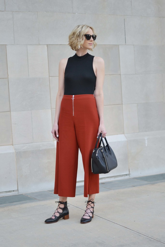 Madison and Berkeley, bodysuit, culottes, lace up block heels, Rebecca Minkoff Perry satchel