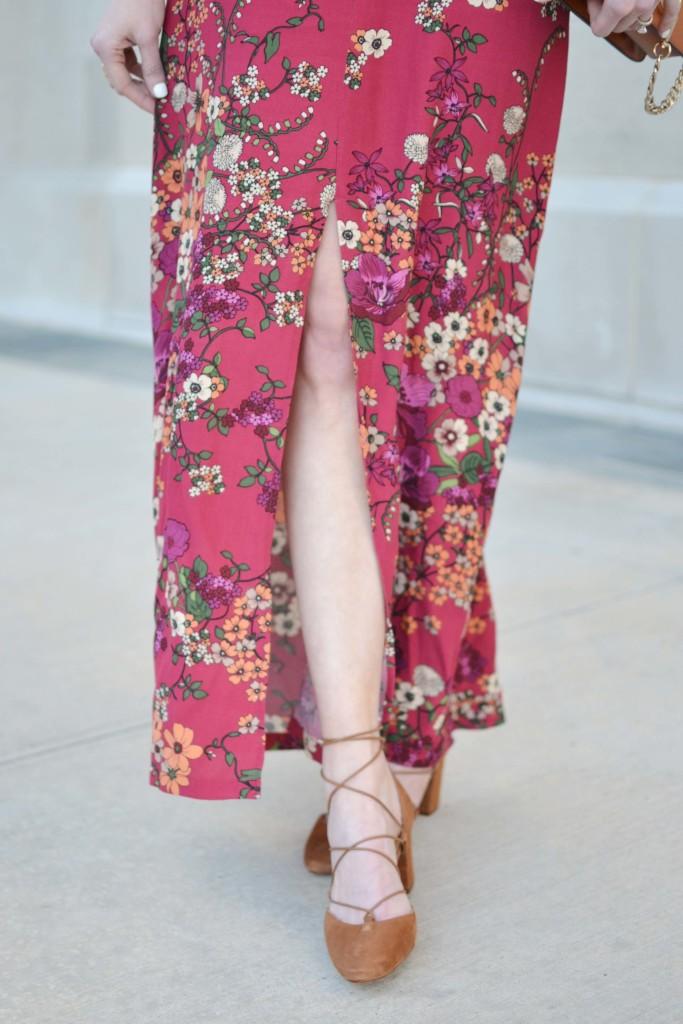 WAYF floral maxi dress, shoes