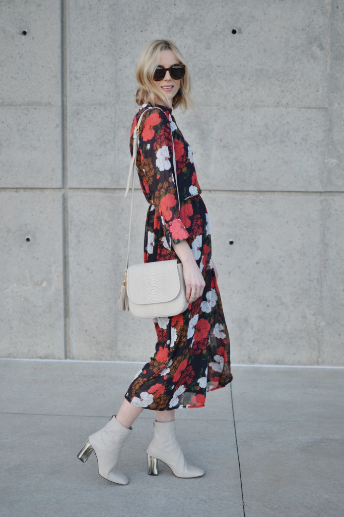 floral dress, boots, GiGi bag 1