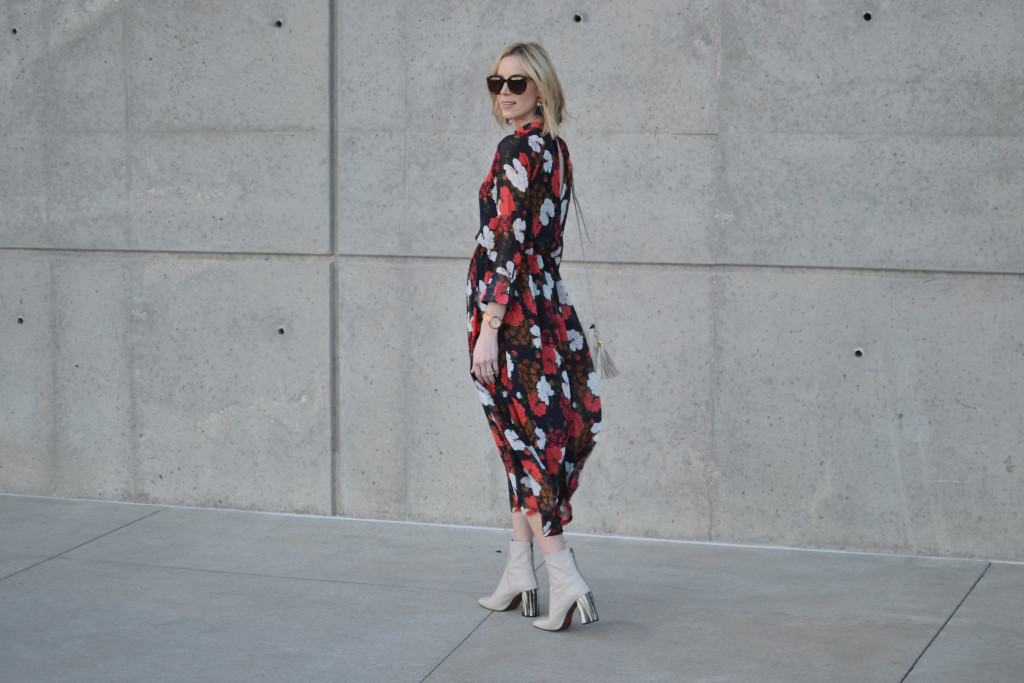 retro floral midi dress, GiGi New York Kelly saddle bag, cream Topshop ankle boots, Karen Walker sunglasses, 70s style