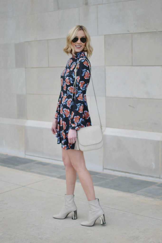 floral mini dress, cream boots, GiGi New York Kelly Saddle bag in bone, Ray-Ban aviators, nude lipstick
