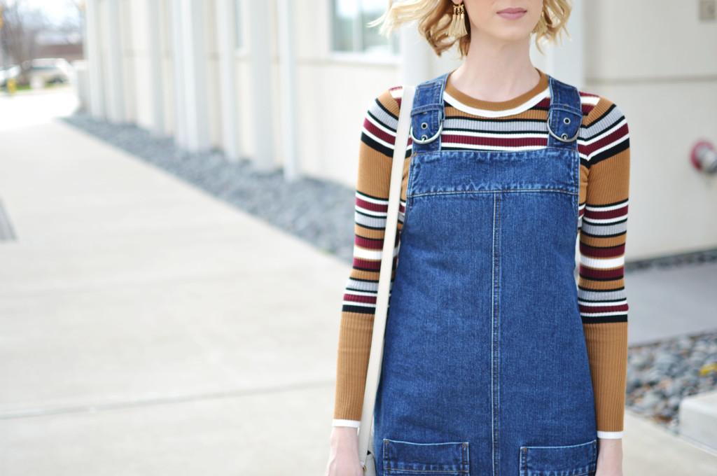 overall dress, striped top, Karen Walker starburst sunglasses, GiGi NY Kelly saddle bag