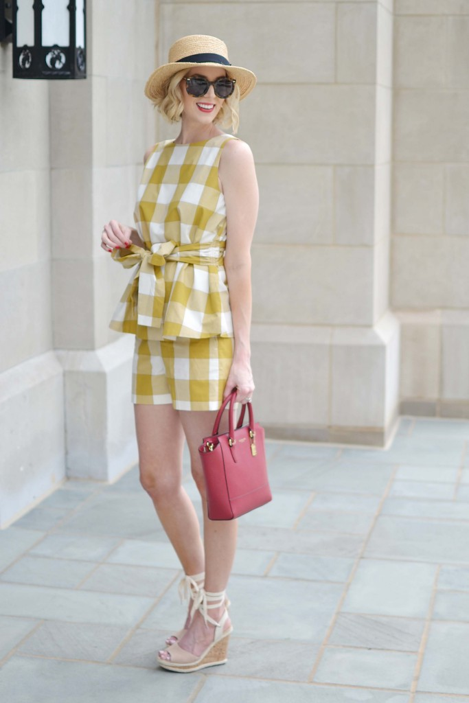 This Ann Taylor matching gingham short and top set is perfect for spring and summer with lace up wedges and a hat!
