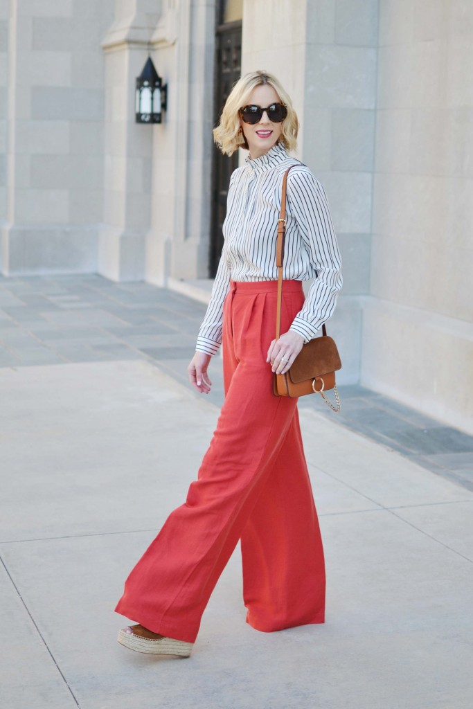 Why wear regular pants when you can make a statement? These red wide leg pants from Ann Taylor are classic and functional, especially with a striped blouse.