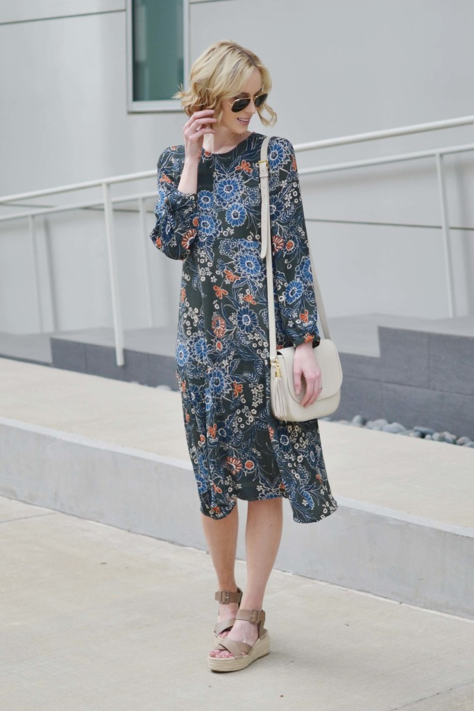 retro floral midi dress, Ray-Ban aviators, GiGi New York Bag, flatform espadrilles