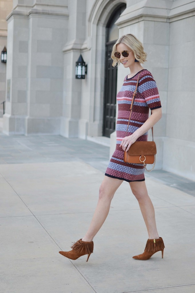 Ann Taylor striped dress, round sunnies, fringe booties, Chloe dupe bag