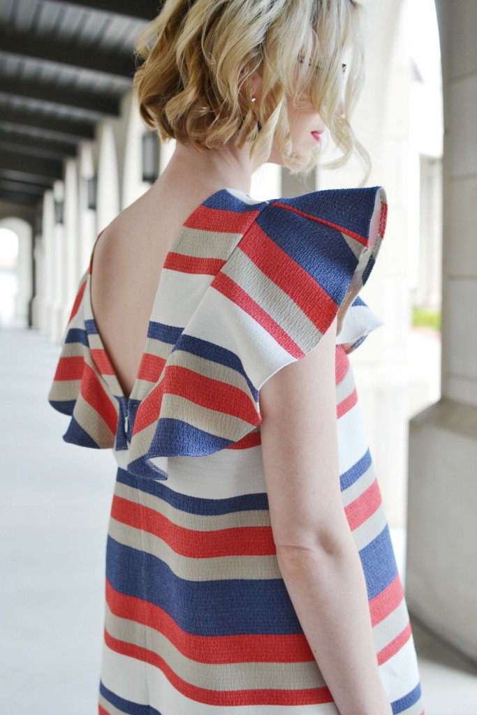 striped dress with ruffle collar and v-back