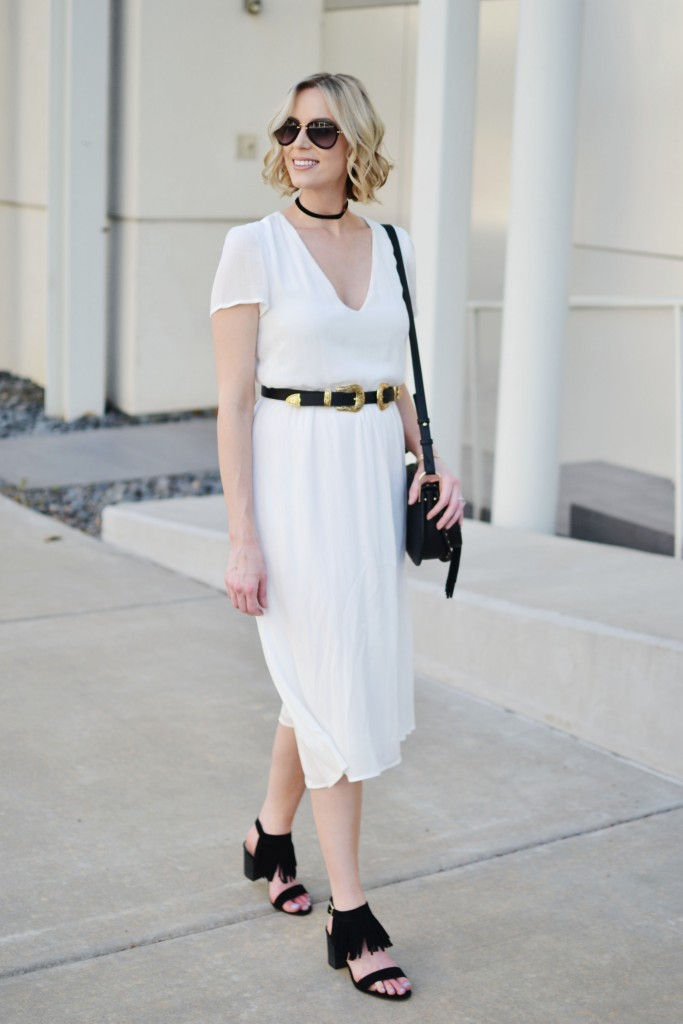 Restricted shoes, black fringe block heeled sandals, white dress, double buckle belt, choker, Chloe dupe bag, black and white outfit