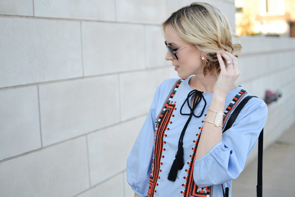 blue embroidered dress, Kendra Scott jewelry