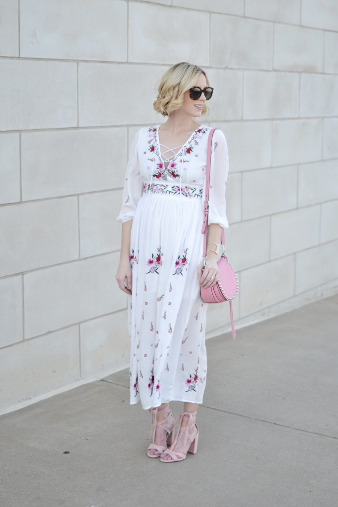 lace up floral maxi dress, pink suede lace up shoes, pink saddle bag, summer outfit, summer dresses