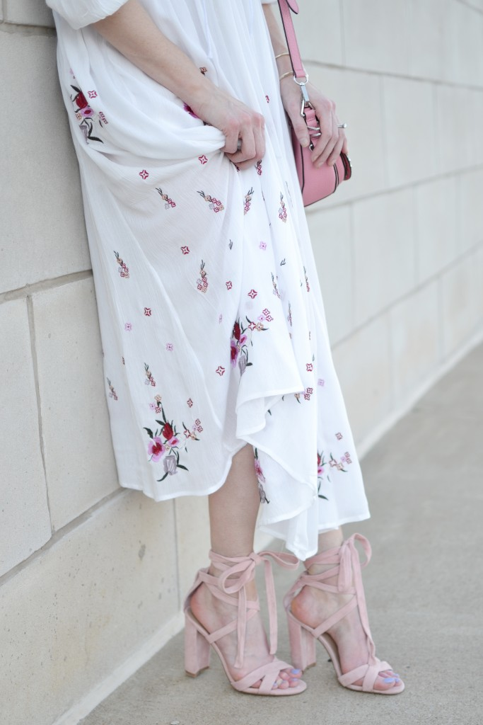 lace up floral dress, pink suede lace up shoes
