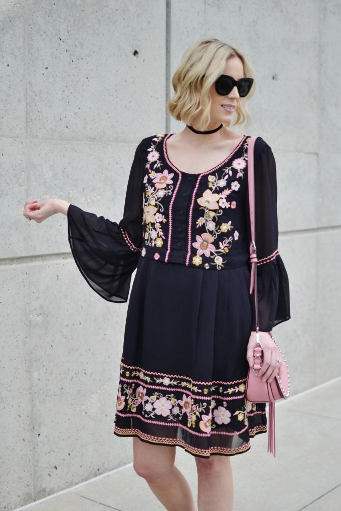 French connection black boho embroidered black dress, fringe booties, choker, pink bag