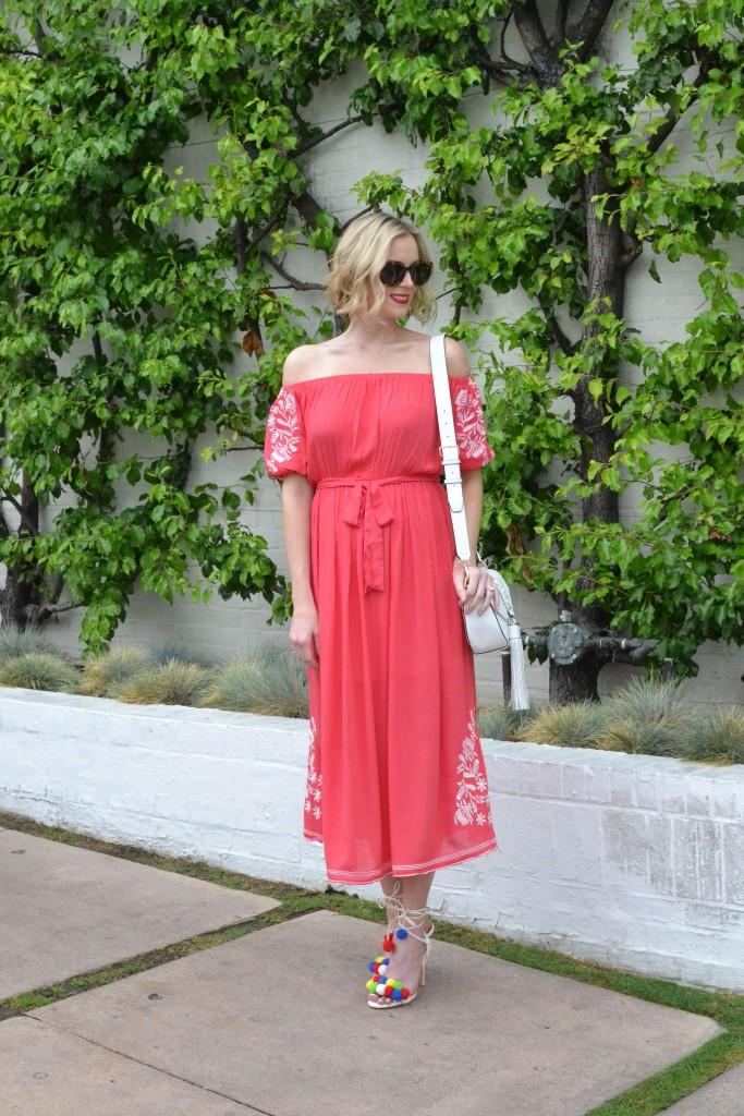 chicwish OTS dress, pom pom heels