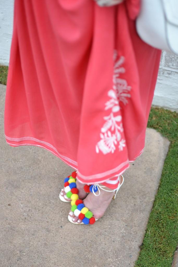 chicwish OTS dress with pom pom heels