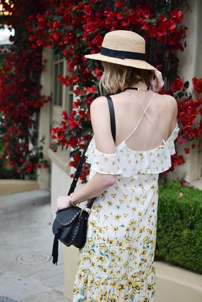 poppy cold shoulder ruffle dress, black fringe block heels, choker, hat, chloe dupe bag