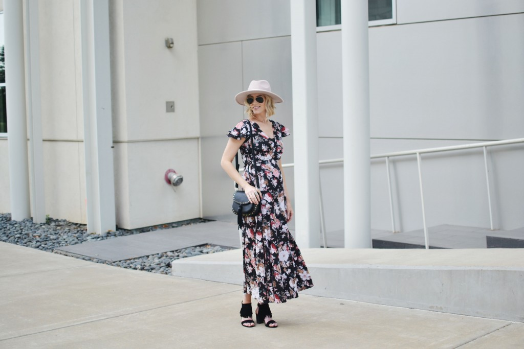 floral wrap dress, fringe heels, blush hat, chloe dupe bag, Kendra Scott fall 2016 line, choker