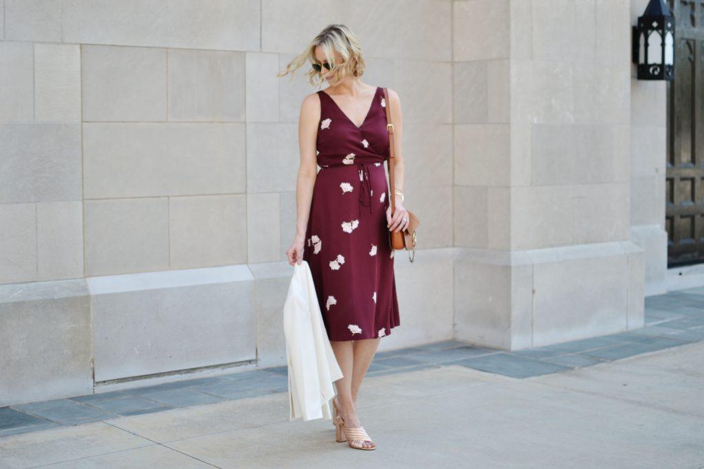 Ann Taylor floral wrap dress, white blazer