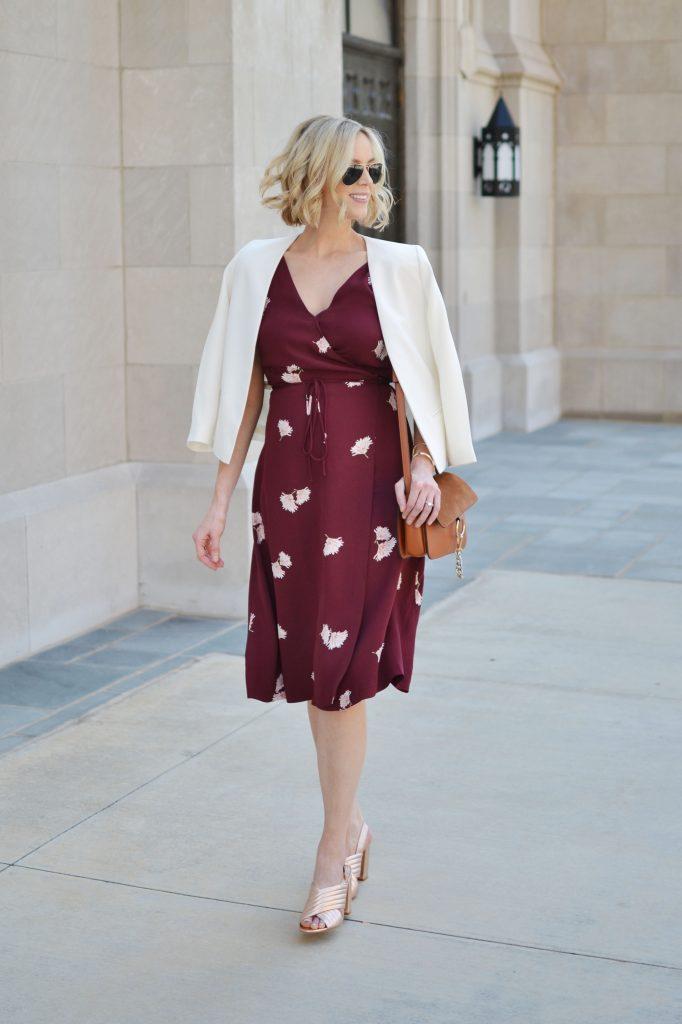 Ann Taylor floral wrap dress, white blazer, rose gold mules