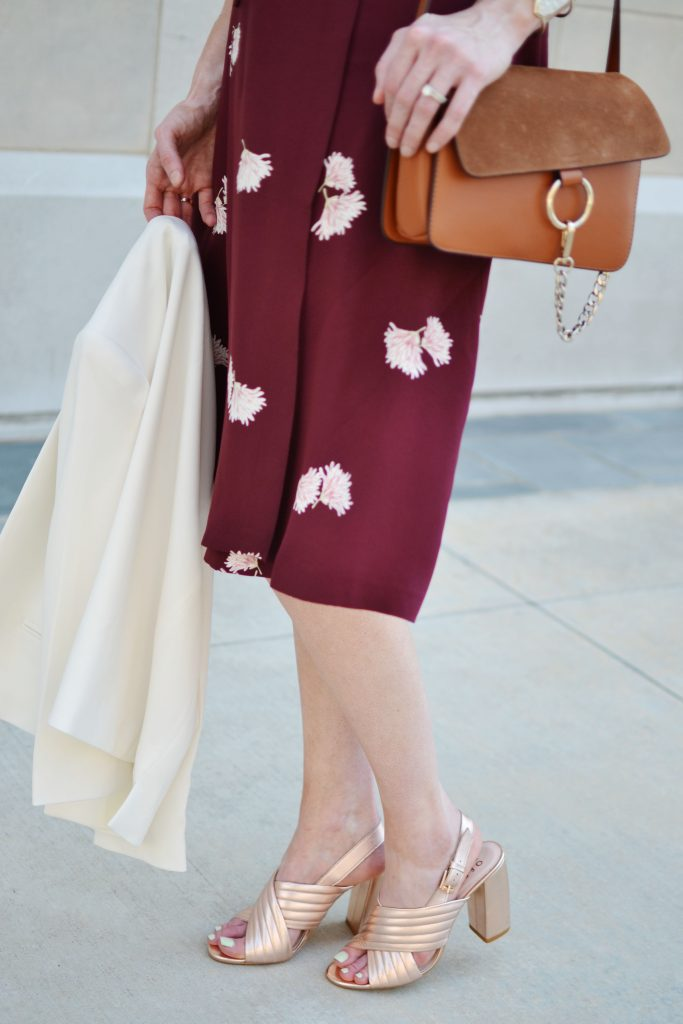 Ann Taylor wrap dress, rose gold mules