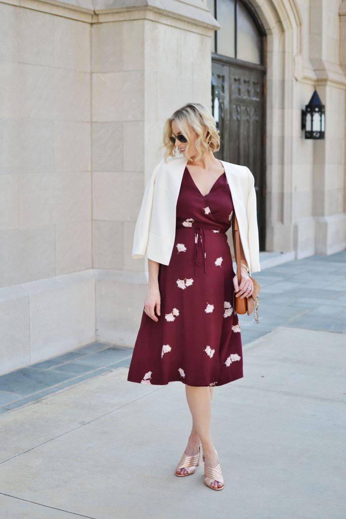 Ann Taylor wrap dress, white blazer, rose gold mules