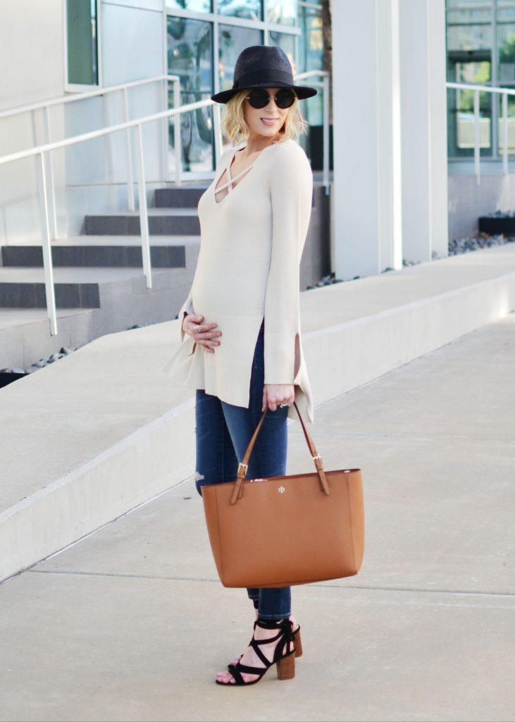 Free People sweater, jeans, Tory Burch tote 1