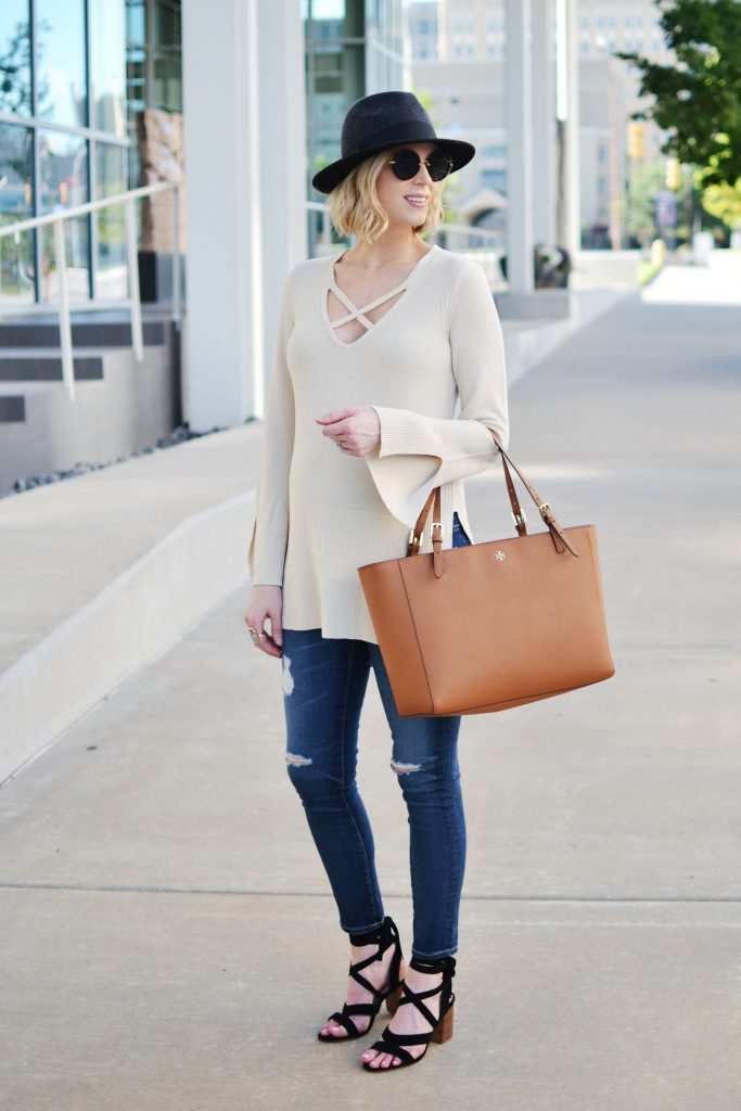 Free People sweater, jeans, Tory Burch tote 2