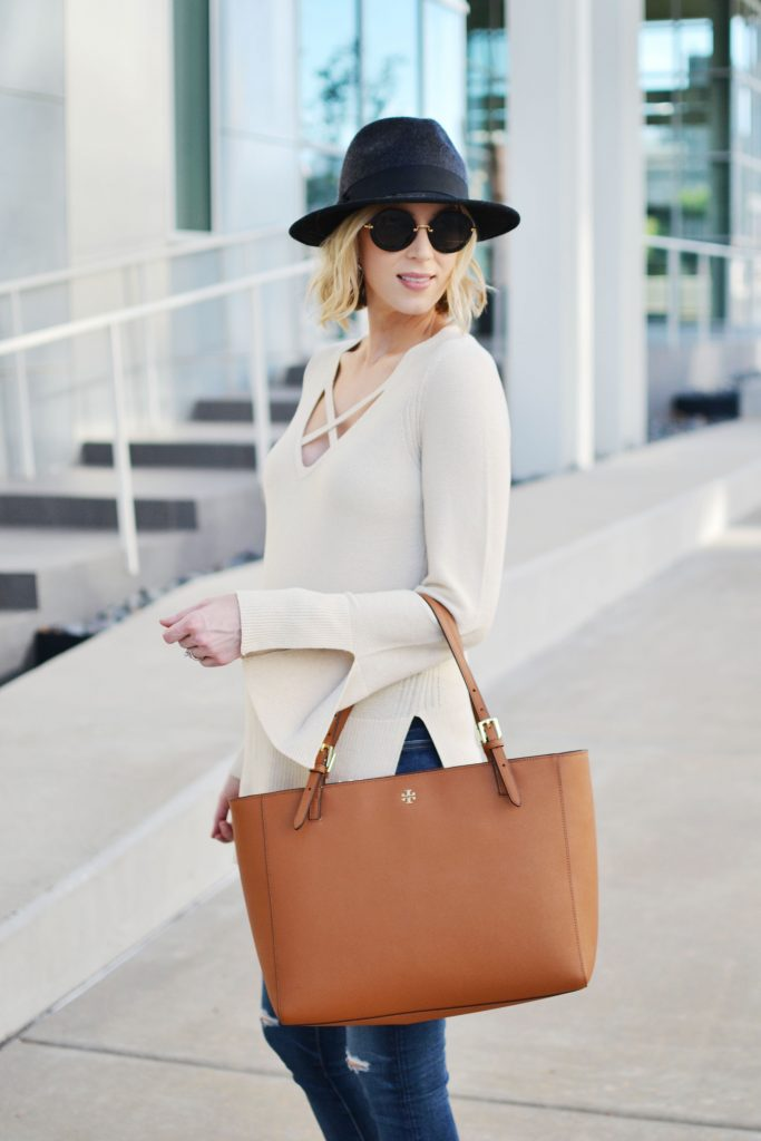 Free People sweater, jeans, Tory Burch tote