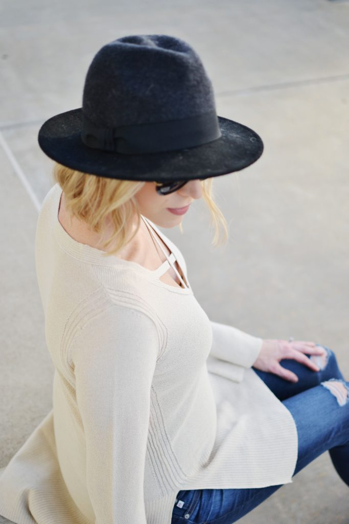 Free People sweater, jeans, hat