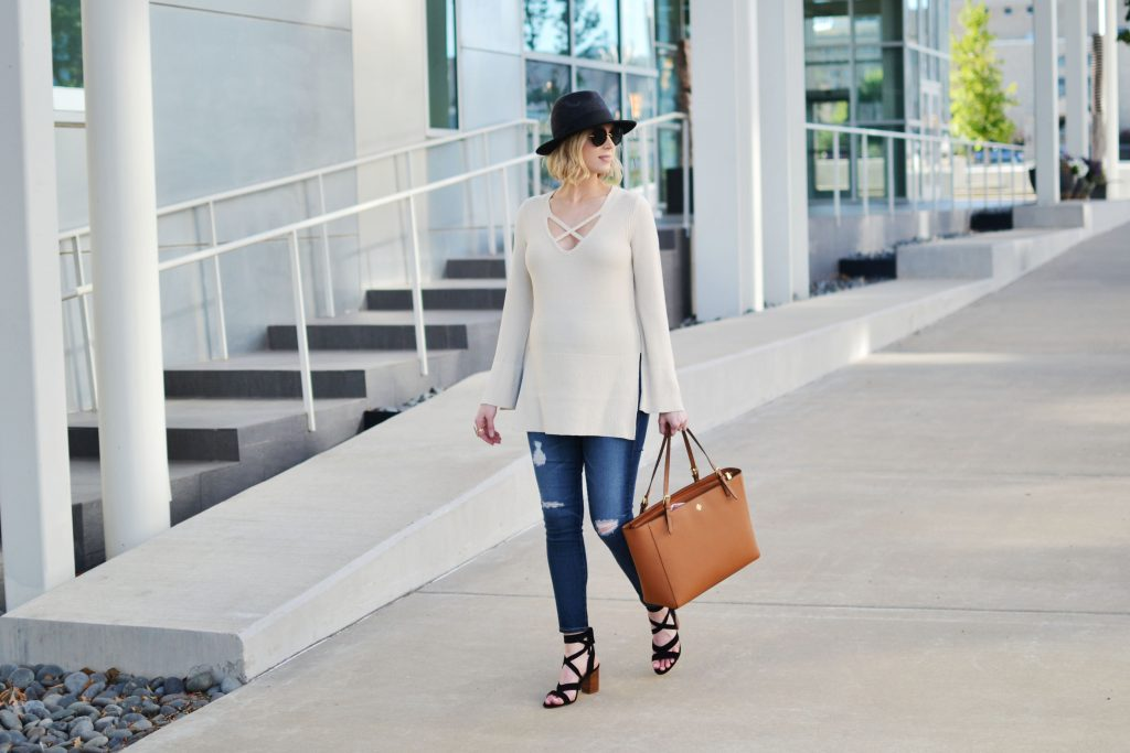 Free People sweater, jeans, hat, Tory Burch tote