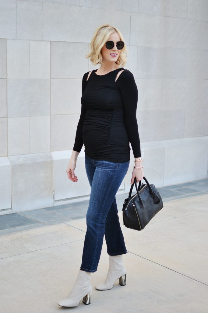 Isabella Oliver cut out shoulder top, kick flare jeans, cream ankle booties, fall maternity style