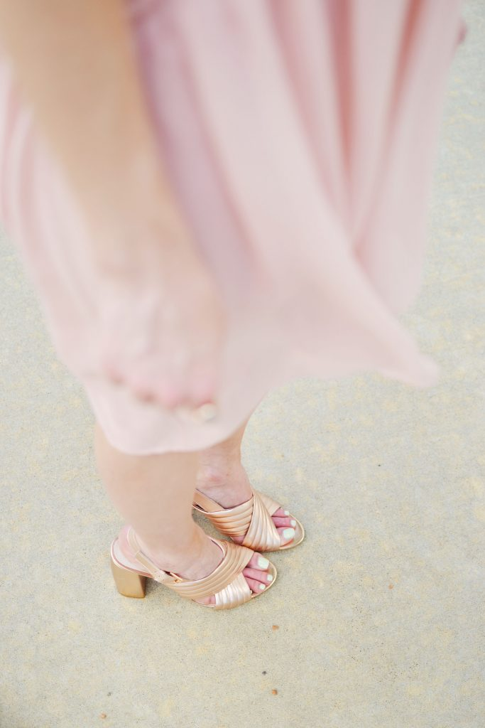 french connection dress, rose gold mule soefie