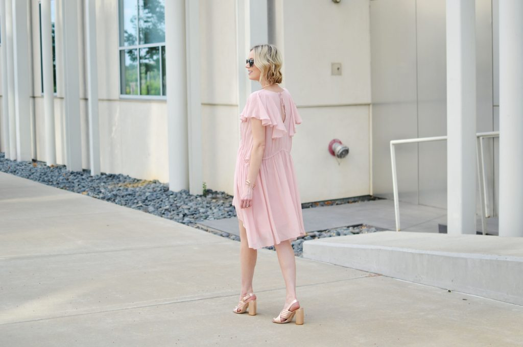 french connection dress, rose gold mules 1