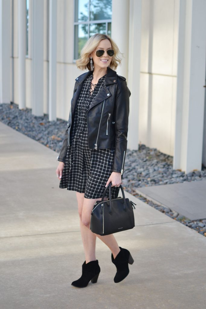 black lace up dress, black leather moto jacket, black ankle booties, all black, fall outfit, stylish maternity outfit