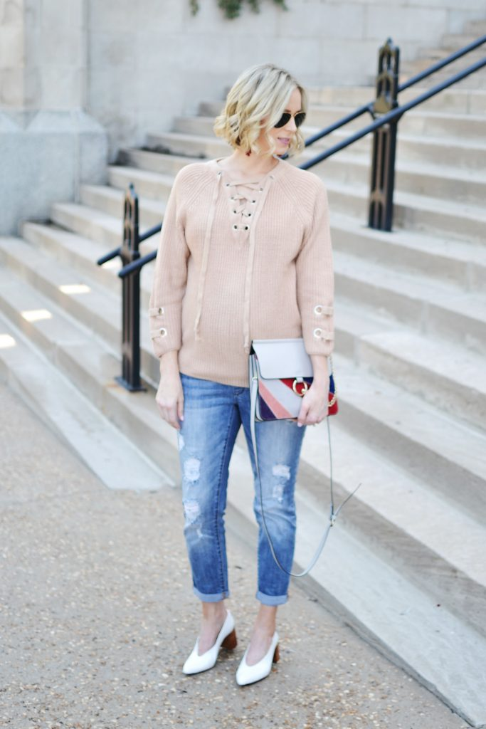 lace-up-sweater-distressed-denim-granny-heels-chloe-dup-bag-stylish-maternity-outfit-maternity-fashion