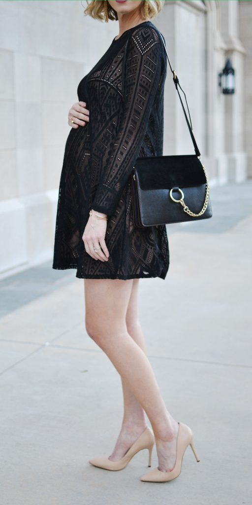 bcbc-long-sleeve-lace-dress, nude heels, chloe dupe bag, maternity date night idea, stylish maternity outfit