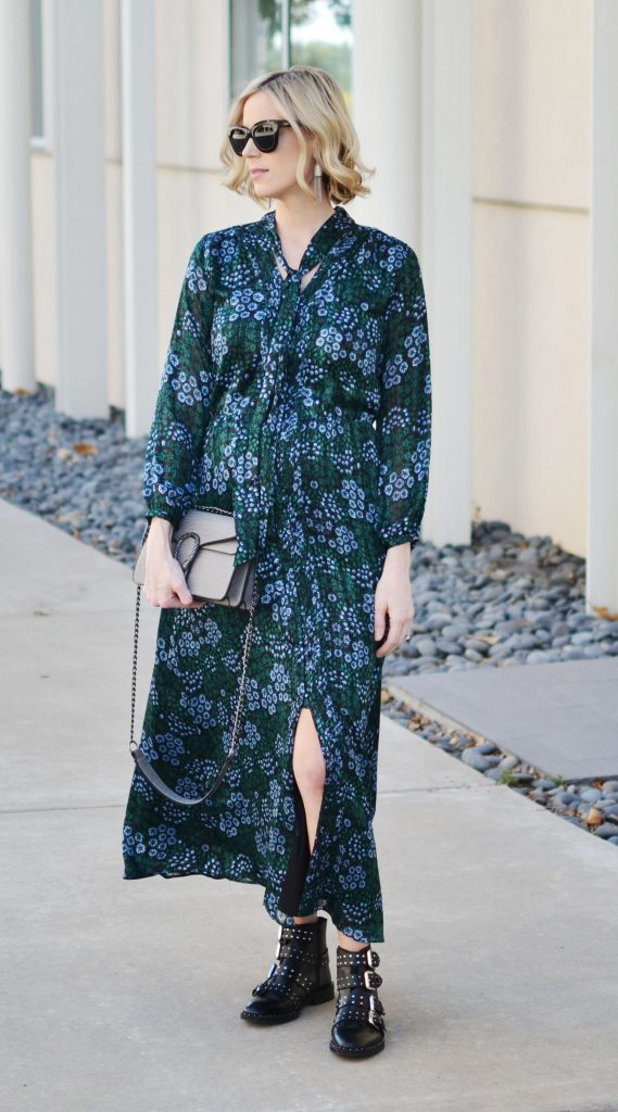tie neck maxi dress and buckle boots, stylish maternity outfit, fall outfit idea